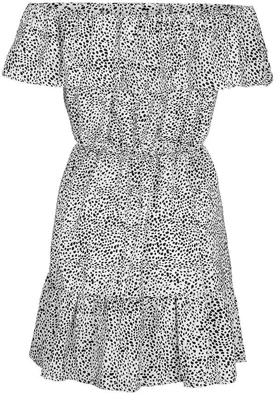 YKDDKK Summer Mini Dress Vintage Polka-dot Boho Beach Dress Sundress Tunic Dress Women Off Shoulder Evening Elegant Ladies Skirt Adds Temperament To You