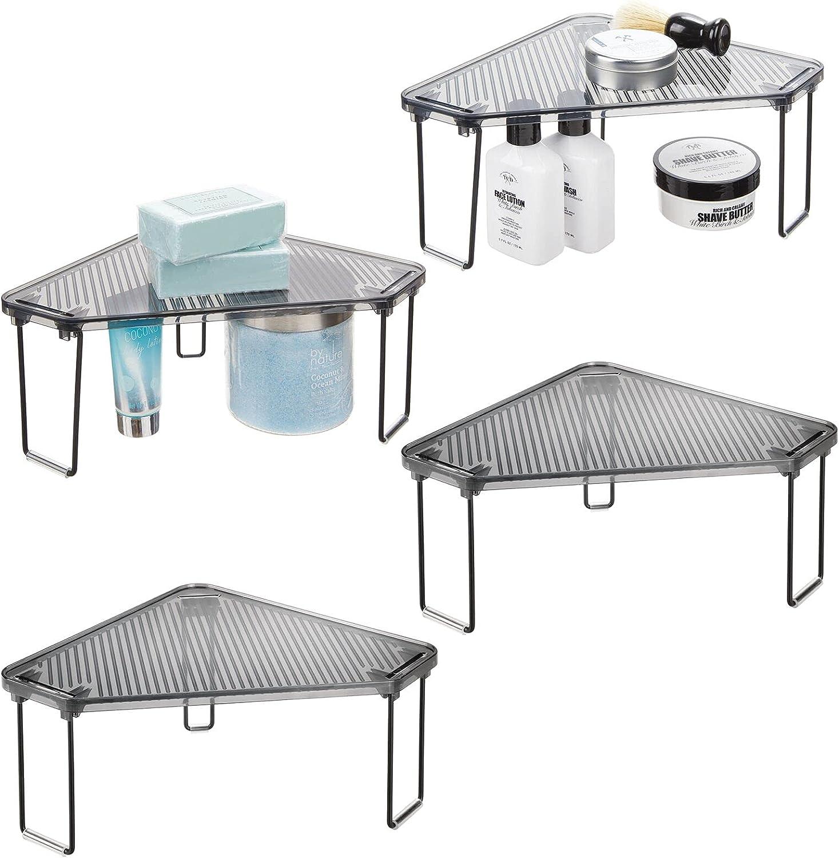 mDesign Corner Plastic Sale price Metal Sh Freestanding Organizer Max 48% OFF Stackable