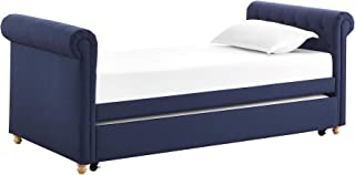 DHP Sophia Upholstered Daybed/Sofa Bed with Trundle, Twin Size Frame, Blue