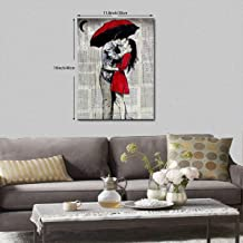 Neweast Red Umbrella Lover Painted Framed Prints Printed On Canvas Pictures for Home Decor Modern Artwork for Room Decorations Ready to Hang 12x16inch