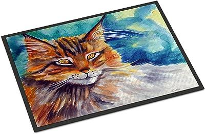 """Caroline's Treasures Maine Coon Cat Watching You Indoor or Outdoor Mat 18x27 7421MAT, 18""""H x 27""""W, Multicolor"""