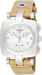 Tissot Odaci-T Women's Silver Dial Leather Band Chronograph Watch - T020.317.16.037.00, Yellow Band
