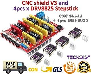 CNC Shield V3 Expansion Board + 4pcs DRV8825 Stepper Motor Driver for 3D Printer   Placa de expansión del escudo del CNC V3.0 + DRV8825 Motor del motor de pasos con disipador de calor para Arduino