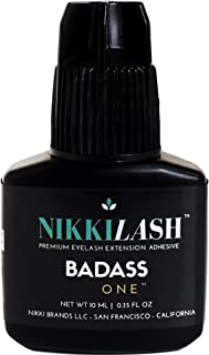 BADASS Strongest Bond Latex-Free Eyelash Extension Glue By NIKKILASH - Extra Strength Bonding Ingredients Found In Medical-Grade Adhesives - Strong Hold Up To 7 Weeks & Fast Dry Time 2-3 Second - 10ML