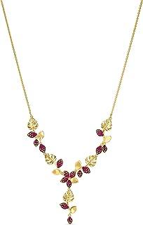 Swarovski Collar en Y Tropical Flower, Rosa, baño Tono Oro