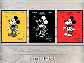 Mickey Mouse Patent Wall Art Prints - Set of Three - Perfect Gift For Disney and Disneyworld Fans - Great Home Decor for Boys or Girls Room - Read to Frame (8x10) Vintage Photos