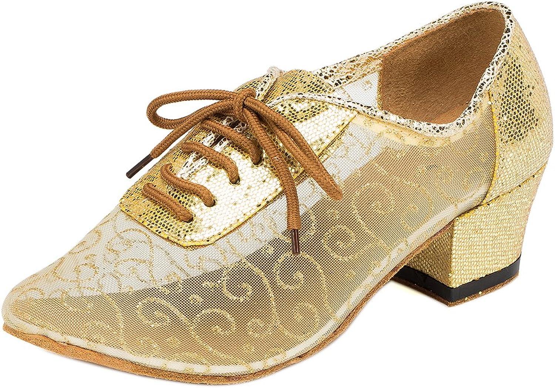 Meijunter Women Social Latin Dance shoes Ballroom Modern Breathable Hollow Dancing shoes gold
