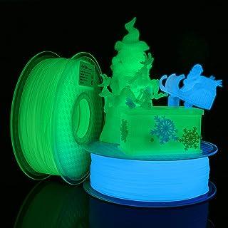 AMOLEN Imprimante 3D Filament PLA 1.75mm, Filament Glow in the Dark Vert et Bleu 2x1KG, Matériel d'impression 3D pour Impr...