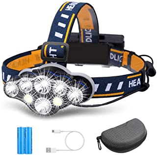 Rechargeable Headlamp, OUTERDO 8 LED Headlamp Flashlight 13000 Lumens 8 Modes with USB Cable 2 Batteries, Waterproof LED H...