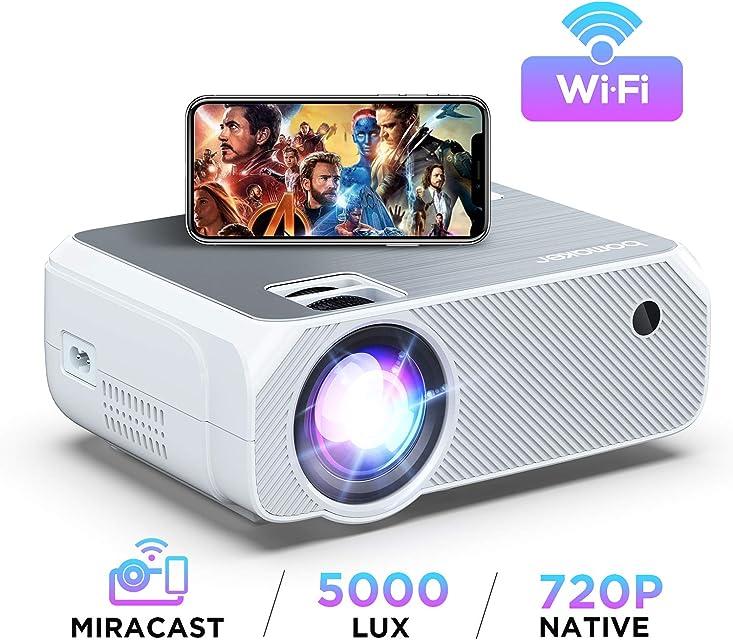 Proyector WiFi 2020 Actualizado BOMAKER 5000 Lúmenes Resolución Nativa 720P Inalámbrico Mini Cine en Casa Portátil Soporte Full HD 1080P Pantalla de 300  HDMI/USB/VGA/AV/Micro SD Blanco Plateado