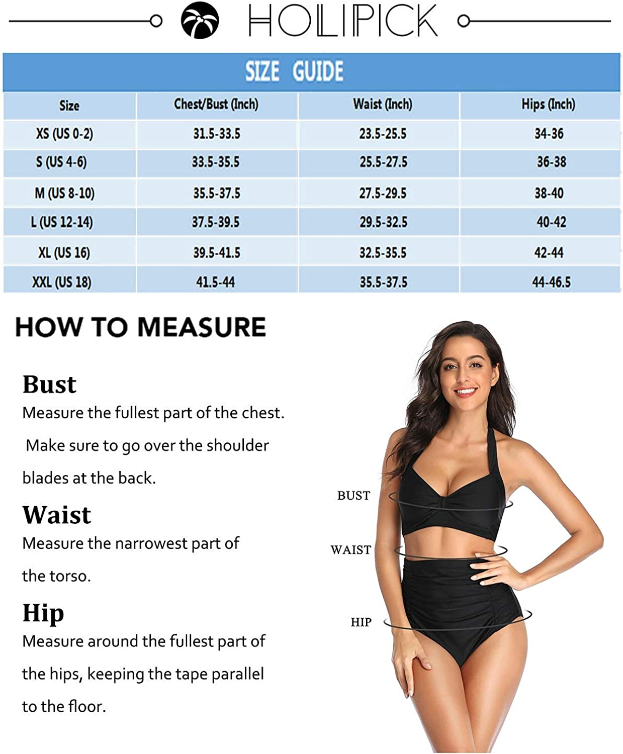 Holipick Women High Waisted Ruched Bikini Vintage TummyControl SwimsuitRetroTwoPiece Bathing Suits with Halter Top