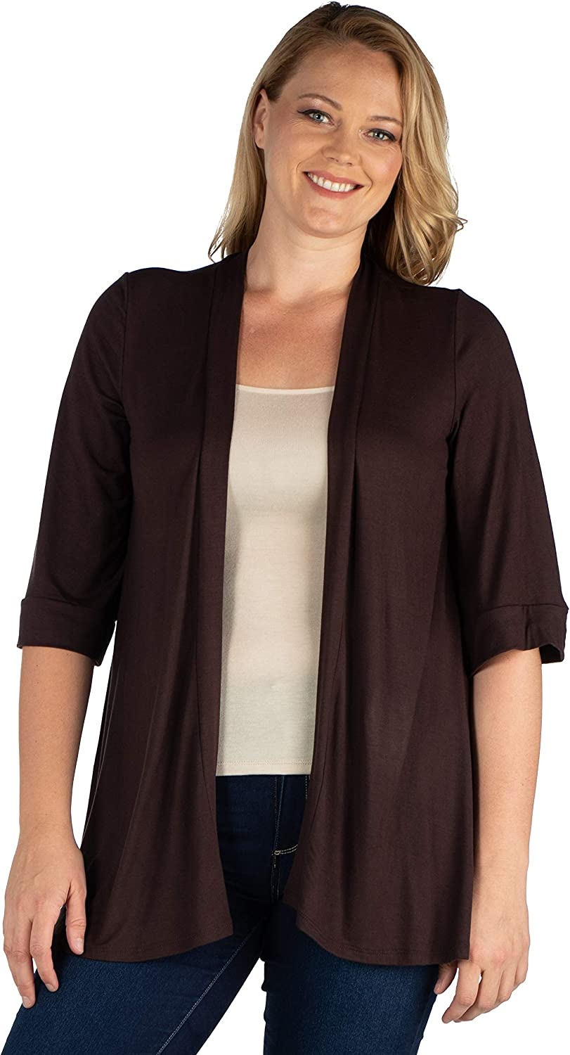 24seven Comfort Apparel Elbow Length Sleeve Open Front Plus Size Cardigan - Made in USA - (Sizes S-6XL)