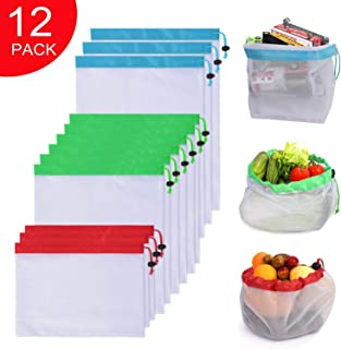 Wingsflying Reusable Produce Mesh Bags, 12 Pack Washable Eco Friendly Grocery Bags with Drawstring for Shopping Storage, Fruit, Vegetable, and Toys,White,12