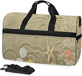 Palm Tree Painted On The Sand Starfish Gym Bags for Men&Women Duffel Bag Overnight Yoga Bag with Shoe Compartment