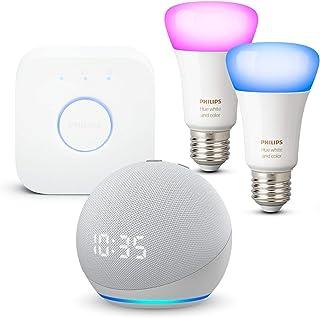 Echo Dot (4ª generazione) con orologio, Bianco ghiaccio + Philips Hue Color Starter Kit 2 Lampadine Smart (E27), compatibi...