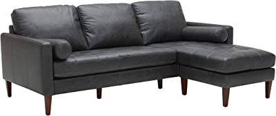 "Amazon Brand – Rivet Aiden Mid-Century Modern Leather Reversible Sectional Sofa, 86""W, Black"
