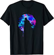 Mystic Howling Wolf Full Moon Watercolor Galaxy Art T Shirt
