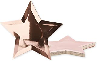 Juvale 36-Pack Rose Gold Foil Star Shaped Paper Plates for Appetizers, Dessert, Party Supplies, Graduation, 10.7 Inches