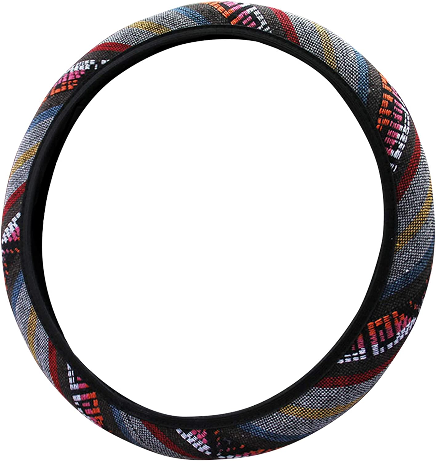 POHOVE 15 inch Car Steering Wheel Cover New Baja Blanket Car Steering Wheel Cover Universal Fit Most Cars,Odorless Coarse Flax Cloth Ethnic Style
