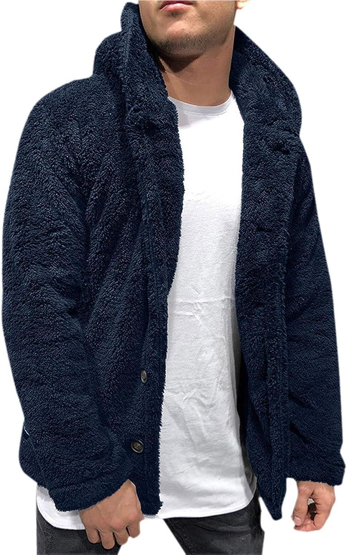 Huangse Mens Fuzzy Flannel Jacket 2021 Winter Coats Warm Sherpa Jacket Casual Fleece Hoodie Button Up Outwear Coat