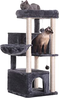 Hey-bro 43.3 inches Multi-Level Cat Tree Condo Furniture with Sisal-Covered Scratching Posts, 2 Plush Condos, Plush Perches, for Kittens, Cats and Pets
