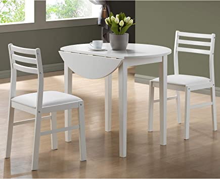 Amazon Com Monarch Specialties I 3 Piece Dining Set With 36 Diameter Drop Leaf Table White Table Chair Sets