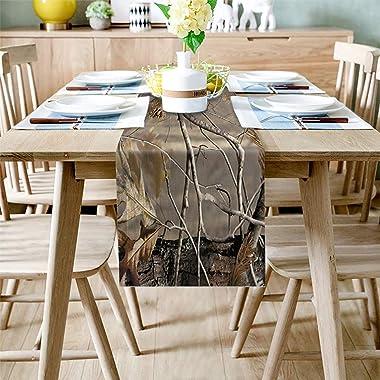 Camo Table Runner Dresser Scarves Camouflage Tree Non-Slip Burlap Rectangle Dinner Runners for Outdoor Indoor Parties Wedding