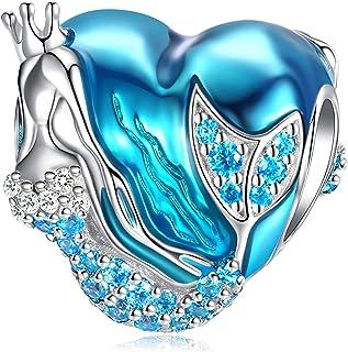 Mermaid Charms fit Pandora Charms Bracelet, 925 Sterling Silver Charms Bead CZ Heart Shape Blue Enamel Bead Ocean Sea Charm for European Snake Bracelets Bangles Necklace Women Girls Gift FQ0031