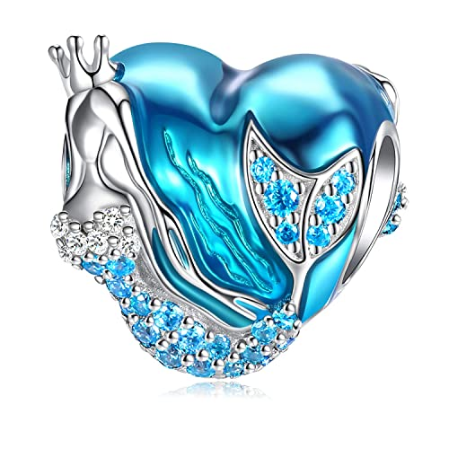f7b34b76a Mermaid Charms fit Charms Bracelet 925 Sterling Silver Charms Bead CZ Heart  Shape Blue Enamel Bead