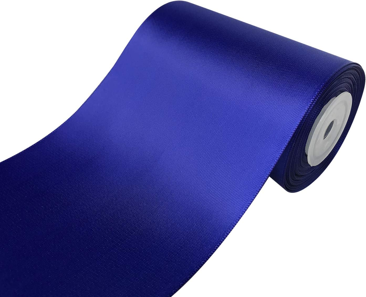 QIANF 4 inch Wide Solid Color No Fading Double Face Satin Ribbon Great for Chair Sash - 10 Yard (477-Royal Blue)