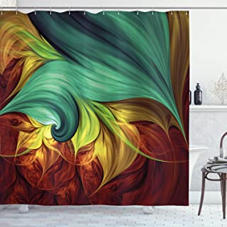 Ambesonne Fractal Shower Curtain by, Computer Art Stylized Fluid Color Tones with Artistic Abstract Dynamic Forms, Fabric Bathroom Decor Set with Hooks, 70 Inches, Teal Yellow Ruby
