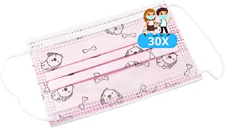 TBOC Mascarilla Higiénica Niños No Reutilizable - [Pack 30 Unidades] 3 Capas [Color Rosa Dog]