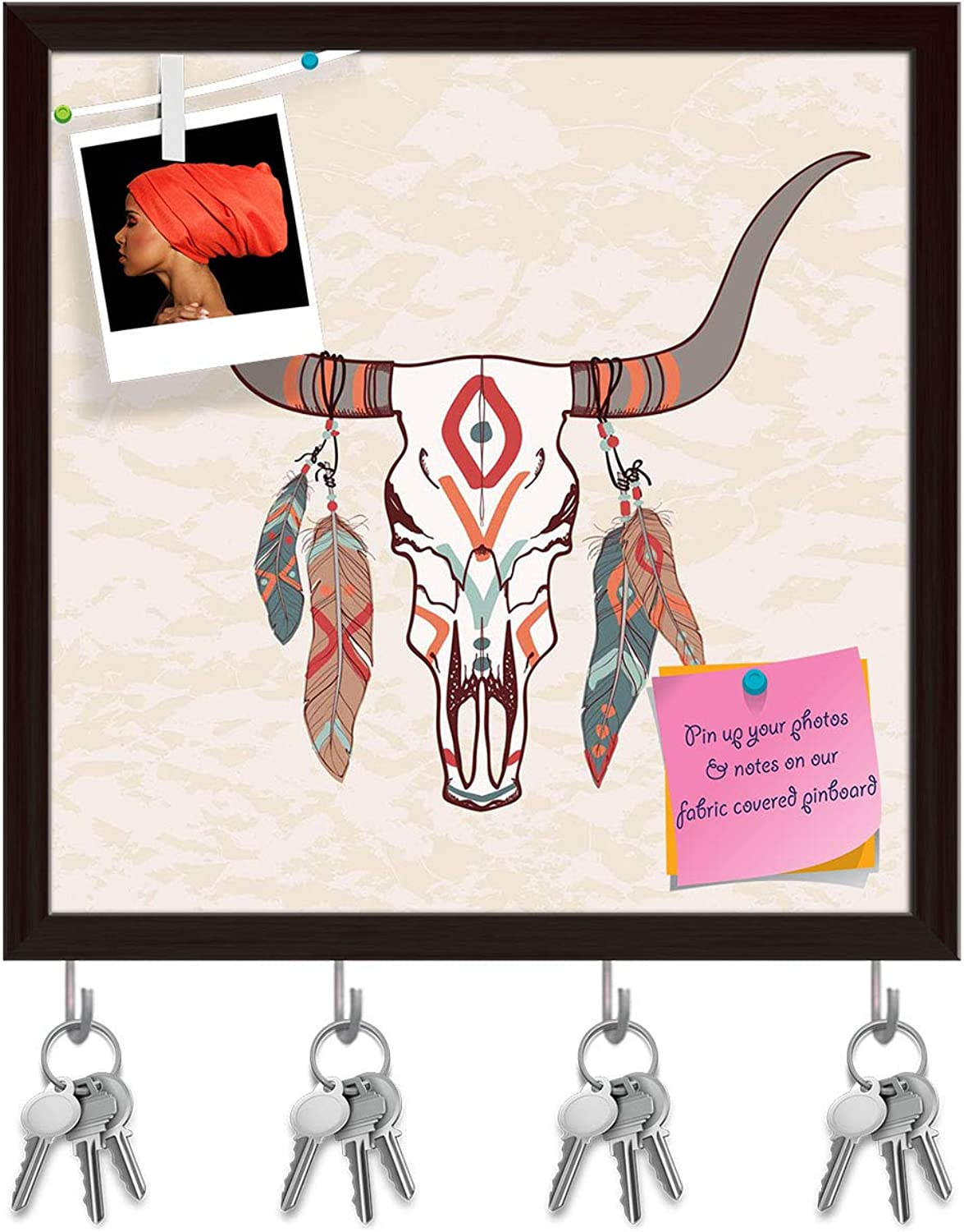 Artzfolio Bull Skull with Feathers Key Holder Hooks   Notice Pin Board   Dark Brown Frame 20 X 20Inch