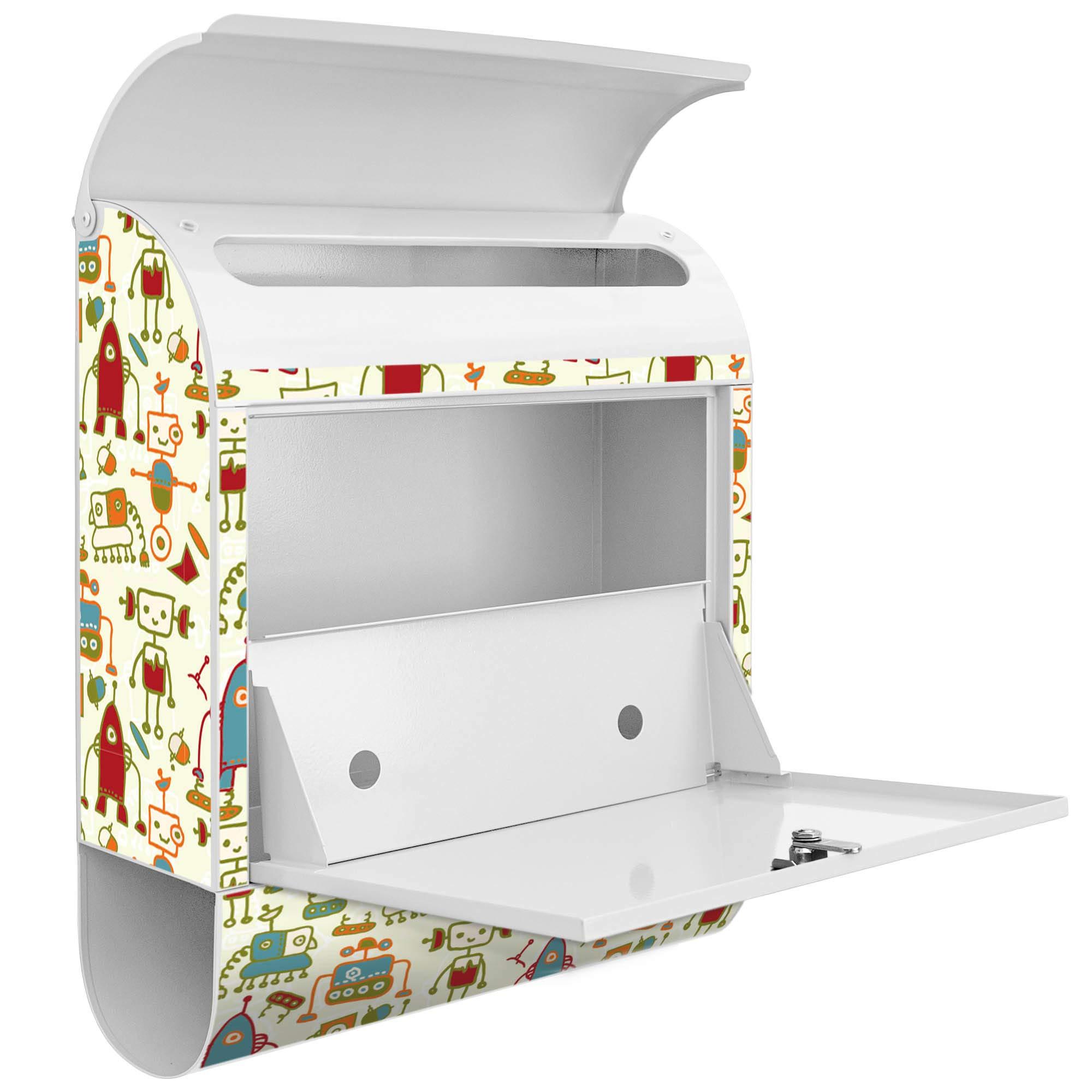 banjado – Blanco Diseño Buzón zeitgs compartimento 38 x 45 x 11 cm pared Buzón con diseño trazo Robot: Amazon.es: Bricolaje y herramientas