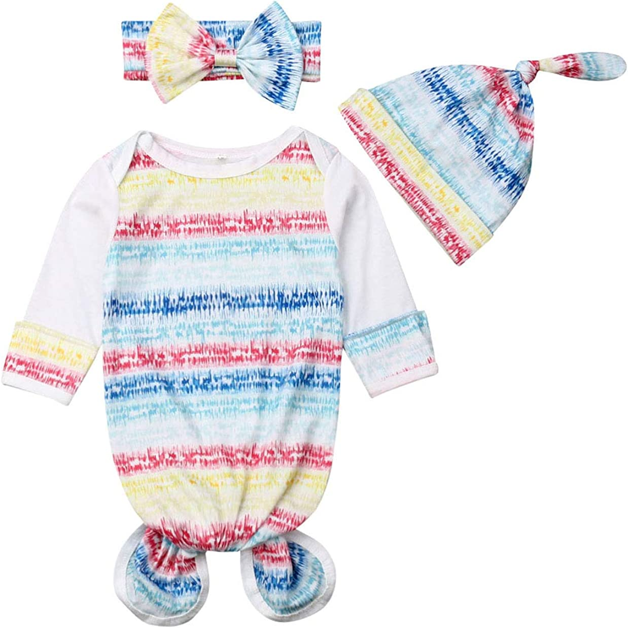 Newborn Baby Boy Girl Sleeper Gowns,Unisex Striped Sleeping Bags Swaddle Sack Coming Home Outfit