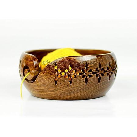 Nagina International, Bol de rangement en bois de rose avec trous et forets sculptés. Accessoires pour crochet à tricoter Taille M marron