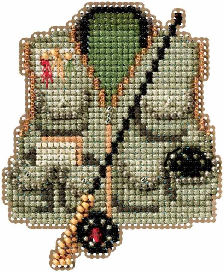 Fishing Nippon regular agency Vest Beaded Counted Cross Ornament Mill Stitch specialty shop Hill Kit