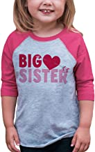 7 ate 9 Apparel Girl's Big Sister Happy Valentine's Day Pink Raglan