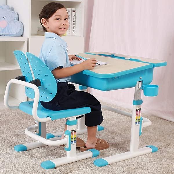 Mecor 儿童桌椅套装儿童学习桌木纹倾斜桌面大号抽屉收纳学生学校课桌套装人体工学翼靠背椅子蓝色