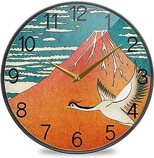 Chovy 掛け時計 サイレント 連続秒針 壁掛け時計 インテリア 置き時計 北欧 おしゃれ かわいい 浮世絵 和風 和柄 鶴 富士山 部屋装飾 子供部屋 プレゼント