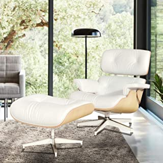 Mid Century Modern Lounge Chair with Ottoman,Mid Century Recliner Tall- High Grade Leather - Cream Solid Wood Lounge Chair Replica (Cream - Upgraded)