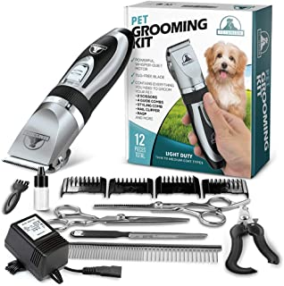 Pet Union Professional Dog Grooming Kit - Rechargeable, Cordless Pet Grooming Clippers & Complete Set of Dog Grooming Tool...