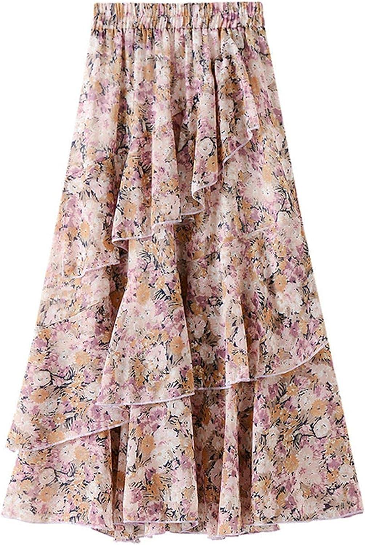 Women's Midi Elastic High Waist Layered Floral Print Skirt for Summer