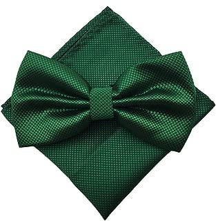 Men's Fashion Silvery Dots Pre-tied Bowtie Pocket Square Set (Plaid Deep Green)