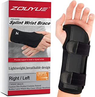 Carpal Tunnel Wrist Brace, Night Sleep Wrist Support, Removable Metal Wrist Splint for Men, Women, Right Hand, Tendinitis, Bowling, Sports Injuries Pain Relief - S/M