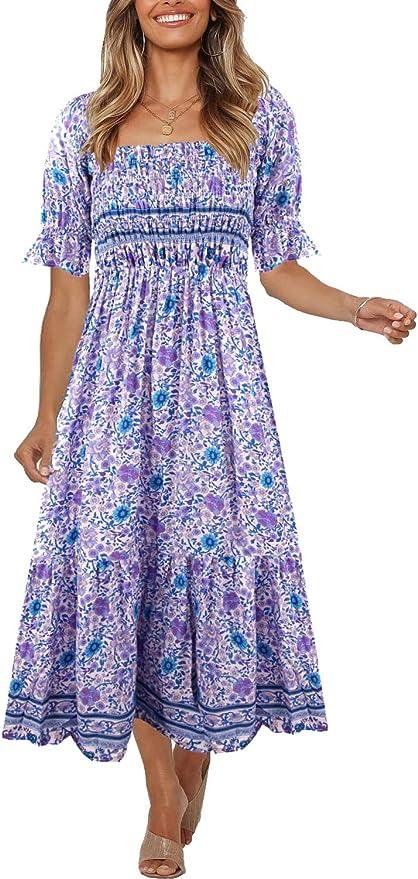 Women's Summer Bohemian Square Neck Floral Print Ruffle Vintage Flowy Beach Vacation Long Midi Boho Dress