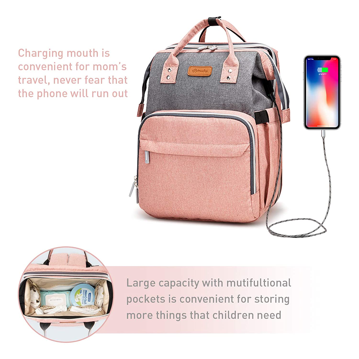 Baby Diaper Bag Backpack with Bassinet Changing Station, Diaper Backpack with USB Charging Port, 3 in 1 Baby Bag, Large Capacity, Multi-Function, Waterproof Travel Bag for Mom and Dad(Gray-Pink)