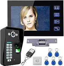 Videodeurtelefoon, intercom, RFID-vingerafdrukwachtwoord Bedrade videodeurbel, 7-inch monitor + nachtzichtbeveiligingscame...