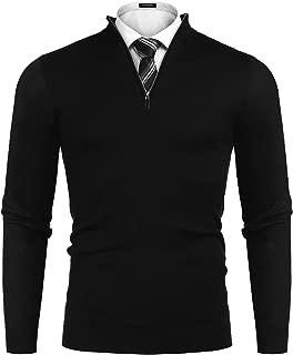Men's Mock Neck Turtleneck Pullover Slim Fit Quarter Zip-Up Polo Sweater Long Sleeve