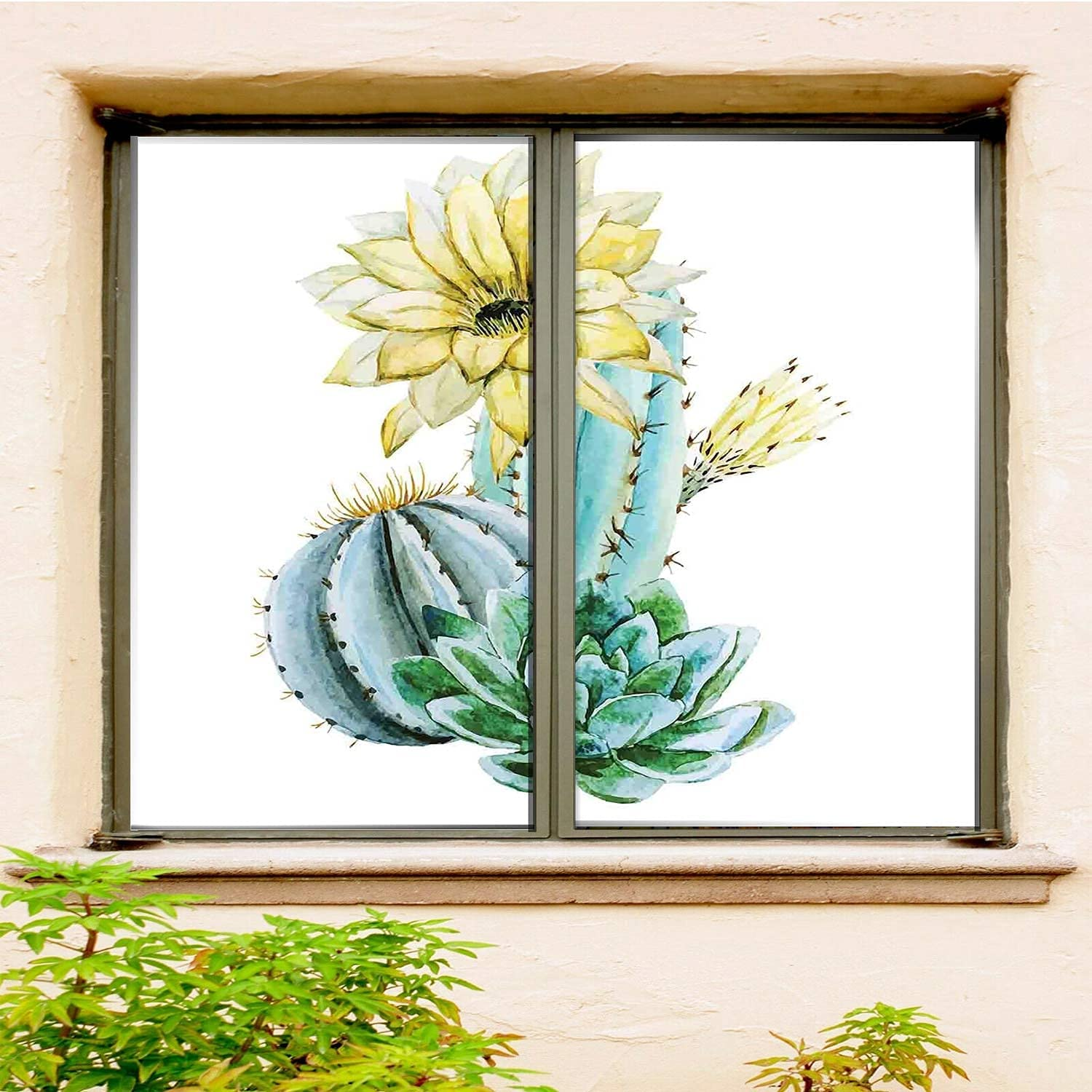 Cactus Office Window Film Self-Adhesive 2 Blue and PCS Max 45% OFF Set Topics on TV White
